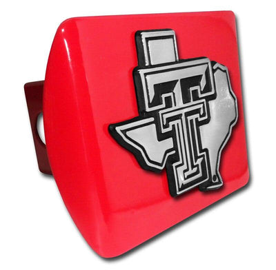 Texas Tech University Chrome State Shaped Red Hitch Cover