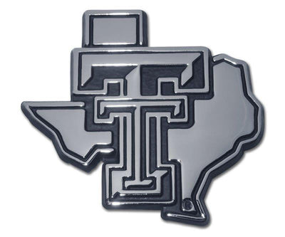Texas Tech University State Shaped Chrome Car Emblem