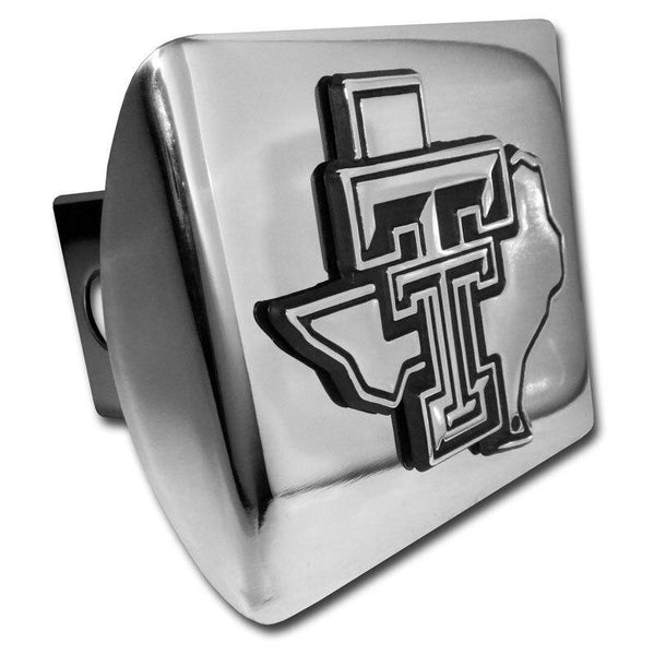 Texas Tech University State Shaped Shiny Chrome Hitch Cover