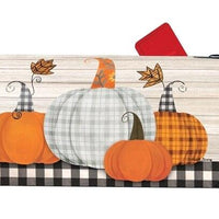 Thankful Plaid Pumpkins Mailbox Cover