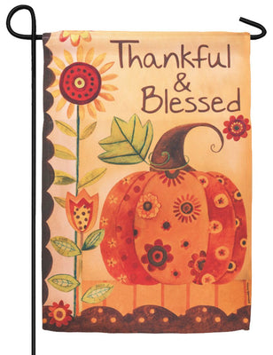 Thankful and Blessed Patterned Pumpkin Garden Flag