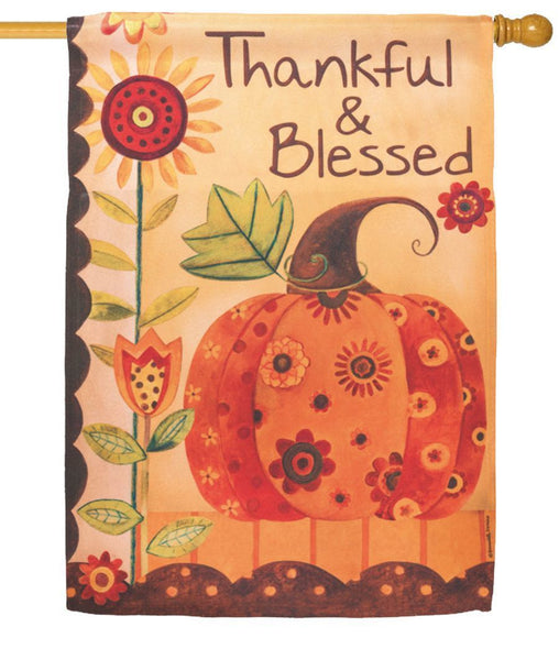 Thankful and Blessed Patterned Pumpkin House Flag