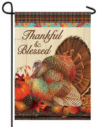Thankful and Blessed Turkey Garden Flag