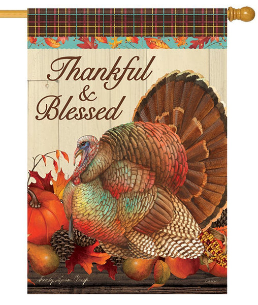 Thankful and Blessed Turkey House Flag