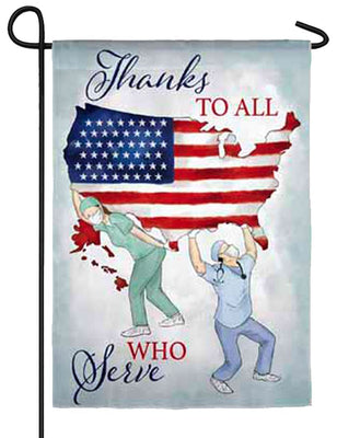 Thanks to All Who Serve Suede Reflections Garden Flag