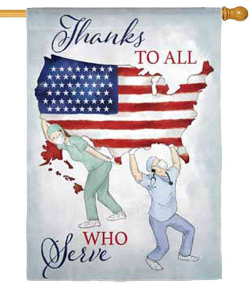 Thanks to All Who Serve Suede Reflections House Flag