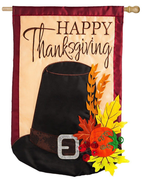 Thanksgiving Pilgrim Hat Applique House Flag - I AmEricas Flags