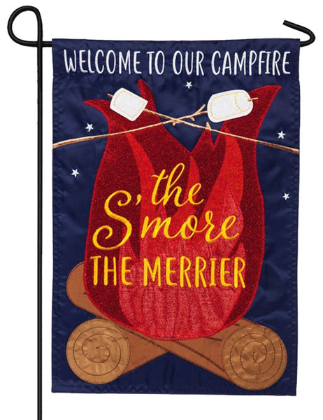 The S'more the Merrier Applique Garden Flag