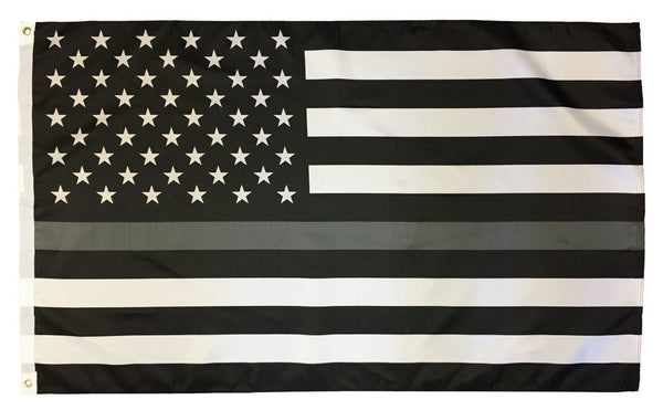 Thin Gray Line Black and White American Flag 3x5