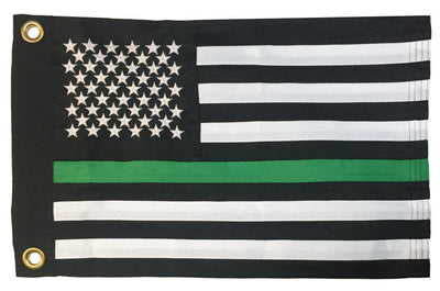 Thin Green Line Black and White American 2-Ply Polyester 12x18 Boat Flag