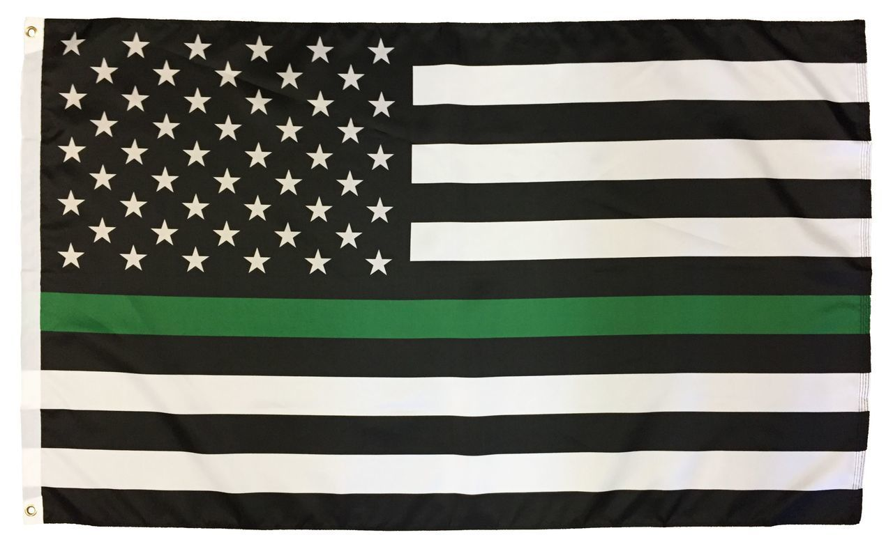 Thin Green Line Black And White American Flag 3x5 I Americas Flags
