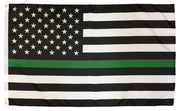 Thin Green Line Black and White American Flag 3x5