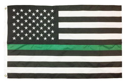 Thin Green Line Black and White American 3x5 Flag Sewn Nylon