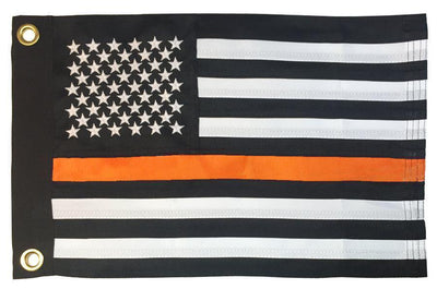 Thin Orange Line Black and White American 2-Ply Polyester 12x18 Boat Flag