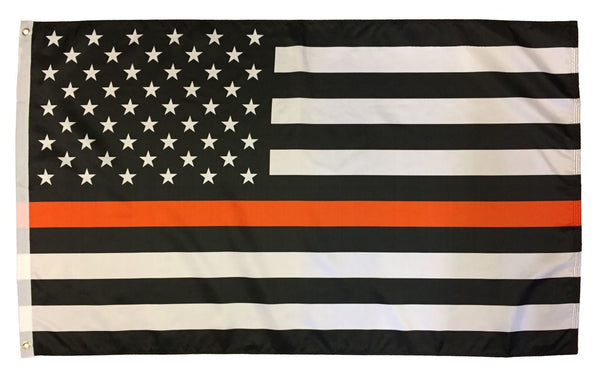 Thin Orange Line Black and White American Flag 3x5