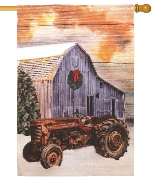 Tractor in the Snow House Flag - I AmEricas Flags