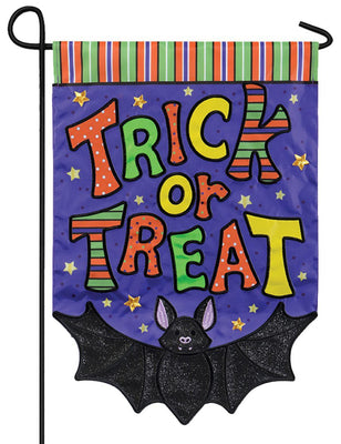 Trick or Treat Bat Double Applique Garden Flag