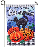 Trick or Treat Black Cat Suede Reflections Garden Flag