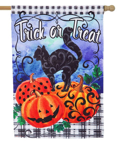 Trick or Treat Black Cat Suede Reflections House Flag