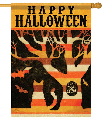 Trick or Treat Tree Halloween House Flag