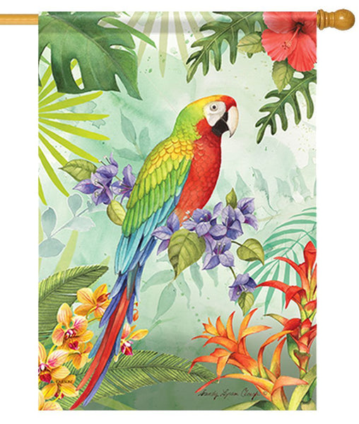 Tropical Macaw House Flag - I AmEricas Flags