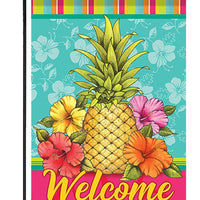 Tropical Pineapple and Hibiscus Garden Flag