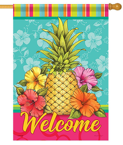 Tropical Pineapple and Hibiscus House Flag - I AmEricas Flags
