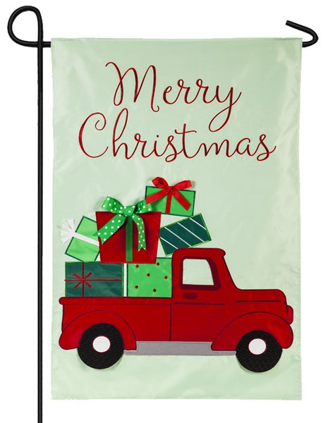 Truckload of Christmas Presents Applique Garden Flag