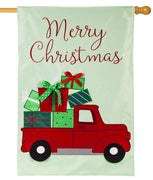 Truckload of Christmas Presents Applique House Flag