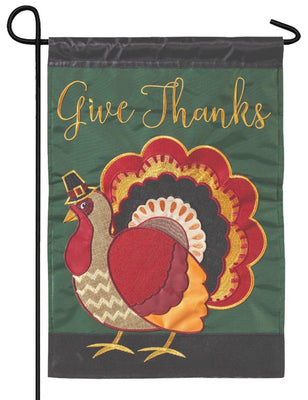 Turkey Give Thanks Double Applique Garden Flag