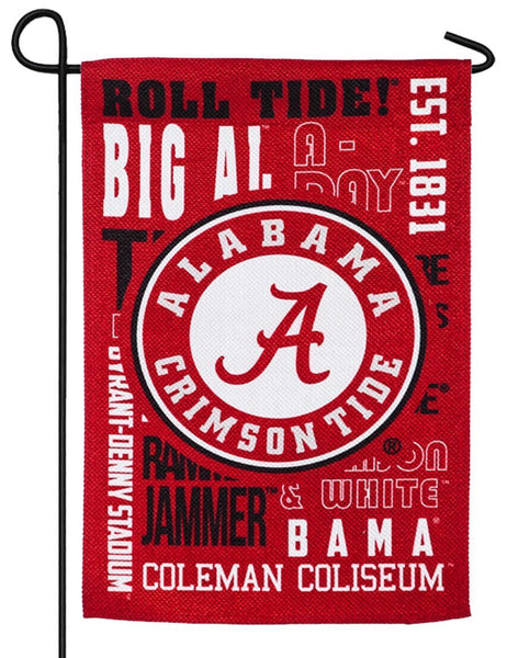 University of Alabama 2 Sided Suede Reflections Garden Flag