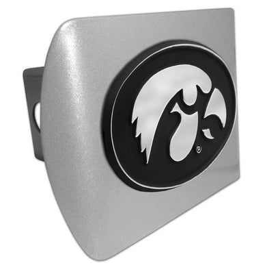 University of Iowa Hawkeyes Brushed Chrome Hitch Cover