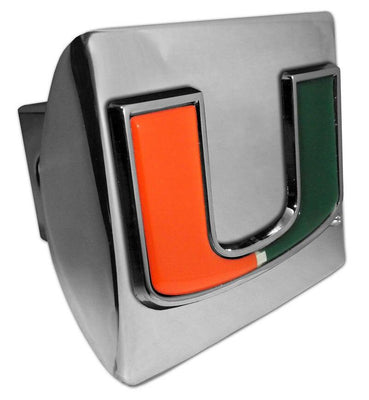 University of Miami Color Emblem Shiny Chrome Hitch Cover