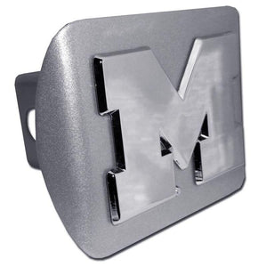 "University of Michigan ""M"" Brushed Chrome Hitch Cover - Chrome Car Emblems 