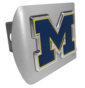 "University of Michigan Navy ""M"" Brushed Chrome Hitch Cover"
