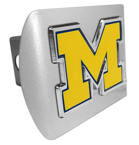 "University of Michigan Yellow ""M"" Brushed Chrome Hitch Cover - Chrome Car Emblems 