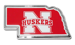 University of Nebraska Cornhuskers State Shaped Color Car Emblem - Sports Flags/College and University/Nebraska University Flags - I AmEricas Flags