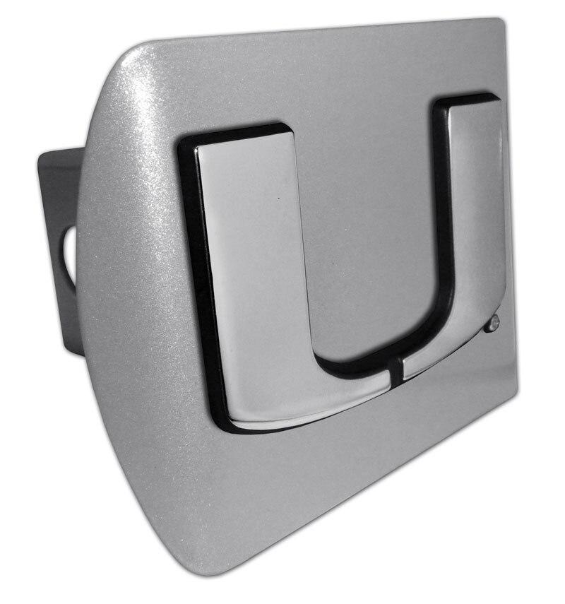 University of Miami Brushed Chrome Hitch Cover
