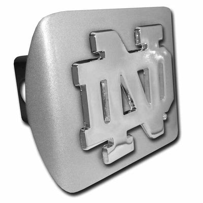 University of Notre Dame ND Brushed Chrome Hitch Cover