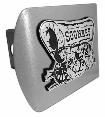 University of Oklahoma Sooner Schooner Brushed Chrome Hitch Cover