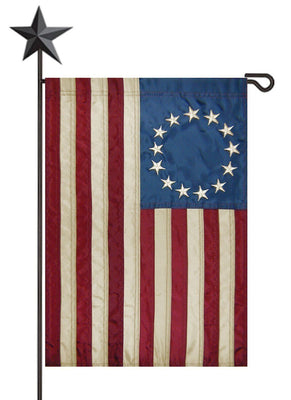 Vintage Antiqued Applique Betsy Ross Garden Flag