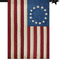 Vintage Antiqued Applique Betsy Ross House Flag