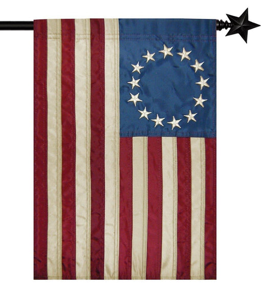 Vintage Antiqued Applique Betsy Ross House Flag - All Decorative Flags/Themes/Patriotic Flags - I AmEricas Flags