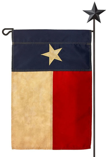 Vintage Antiqued Sewn Nylon Texas Garden Flag - Texas Flags - I AmEricas Flags