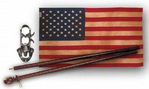 Vintage Tea Stained Cotton 2.5' x 4' American Flag and Pole Kit