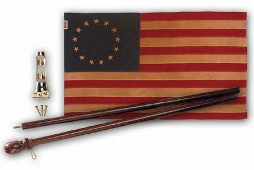 Vintage Tea Stained Cotton 2.5' x 4' Betsy Ross Flag and Pole Kit - Flagpoles | Hardware/Flag and Pole Kits - I AmEricas Flags