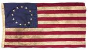 Vintage Tea Stained Sewn Cotton 3x5 Betsy Ross Flag
