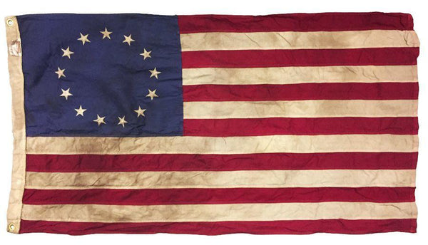 Vintage Tea Stained Sewn Cotton 3x5 Betsy Ross Flag - Historical Flags/Revolutionary War Flags - I AmEricas Flags