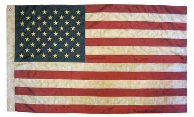 Vintage Antiqued Sewn Nylon 3x5 American Flag