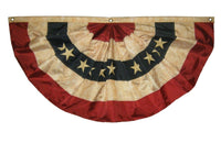 Vintage Antiqued Sewn Nylon Pleated Fan Bunting 3x6 - Patriotic Decorations/Patriotic Bunting - I AmEricas Flags